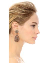 Oscar de la Renta | Black Classic Crystal Teardrop Clip Earrings | Lyst