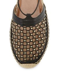 Aquazzura Black Blondie Studded Lattice Espadrille Sandal