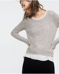 Zara | Gray Two-tone Sweater | Lyst