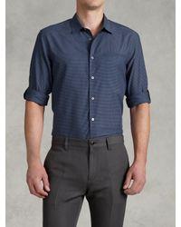 John Varvatos Blue Adjustable Sleeve Slim Fit Shirt for men