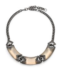 Alexis Bittar - Gray Cubist Lucite & Crystal Small Link Bib Necklace - Lyst