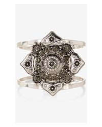 Express | Metallic Rhinestone Medallion Hinge Bracelet | Lyst