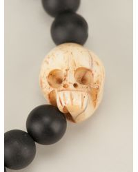 King Baby Studio - Black Skull Charm Beaded Bracelet - Lyst