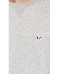 Maison Kitsuné - Gray Tricolor Patch Pullover for Men - Lyst