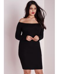 Missguided - Plus Size Jersey Bardot Ribbed Bodycon Dress Black - Lyst