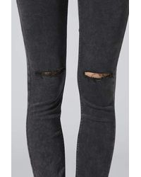 TOPSHOP Moto Mottle Black Ripped Leigh Jeans
