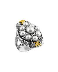 Konstantino - Metallic Silver & 18k Floral Pearl Ring - Lyst