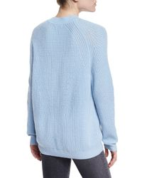 Vince Blue Directional Ribbed Crewneck Sweater