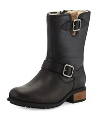 Ugg Chaney Shearling Fur Lined Moto Boot In Black Lyst