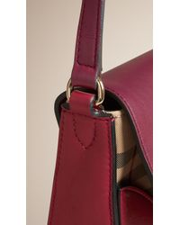 Burberry - Purple The Small Horseferry Check And Leather Cross-Body Bag  - Lyst