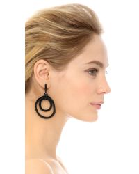 Oscar de la Renta | Black Circle Earrings | Lyst