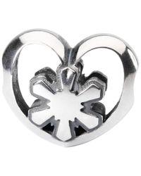 Trollbeads Metallic Sterling Silver Crystal Heart Bead