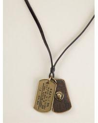 DIESEL | Black 'Adog' Tag Necklace for Men | Lyst