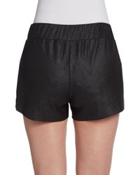 Georgie - Black Faux Leather Perforated Shorts - Lyst