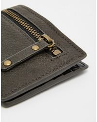 ASOS - Gray Wallet In Grey Faux Leather With Exposed Zip for Men - Lyst