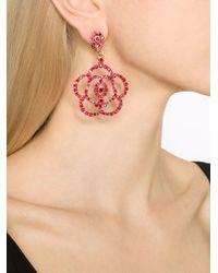 Oscar de la Renta | Red Pavé Flower Clip-on Earrings | Lyst