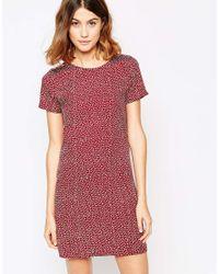 Vila Red Dotty Short Sleeve Shift Dress