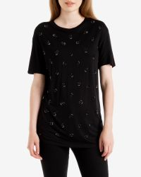 Ted Baker | Black Crystal Drop Embellished T-shirt | Lyst