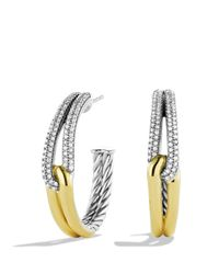 David Yurman - Yellow Labyrinth Hoop Earrings With Diamonds & Gold - Lyst