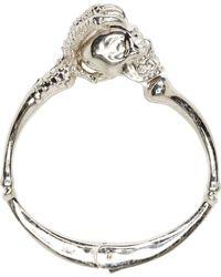 Alexander McQueen - Metallic Silver Claw Skull Hinged Bracelet - Lyst