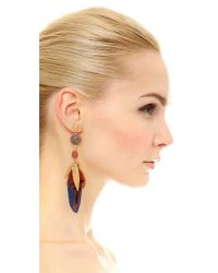 Gas Bijoux - Multicolor Serti Plume Earrings - Blue Multi - Lyst