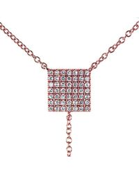 Anne Sisteron - Pink 14kt Rose Gold Diamond Square Lariat Necklace - Lyst