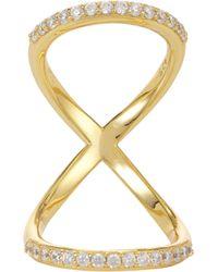 Fallon - Metallic Pavé Infinity Bent Ring - Lyst