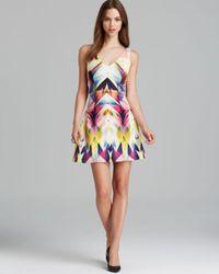 Nicole Miller Artelier | Multicolor Dress Isosceles Sleeveless V Neck Printed Neoprene | Lyst