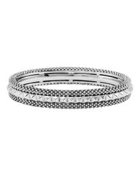 Lagos Metallic Sterling Silver Rope Bracelet With Diamonds