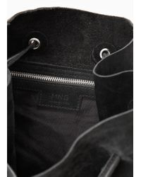 Mango Black Suede Backpack