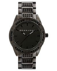 Sean John Men's Stone Accent Black-tone Bracelet Watch 54x48mm 10021787 for men
