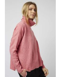 TOPSHOP | Pink Zip Back Roll Neck | Lyst