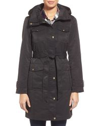 Ellen Tracy Black Belted Utility Trench Coat