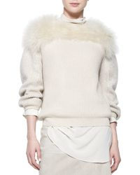 Brunello Cucinelli - Natural Fur-yoked Cashmere-blend Sweater - Lyst