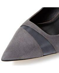 Dune Gray Bardot Mesh Detail High Heel Court Shoes