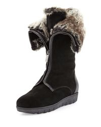 Aquatalia | Black Weslee Faux-Fur Zip Boot | Lyst