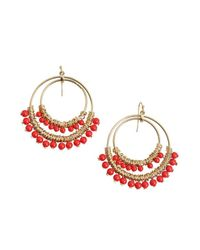 Kenneth Jay Lane - Red Beaded Hoop Earring - Lyst
