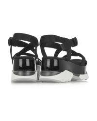 Marni Black Canvas And Patent-leather Platform Sandals