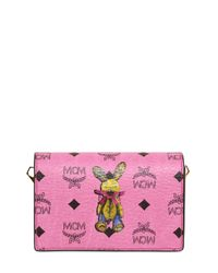 MCM Pink Rabbit Printed Faux Leather Shoulder Bag