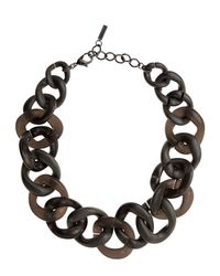 Jaeger Brown Resin Chain Link Necklace