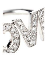 Roberto Marroni - Metallic Rhodium-Plated 18Kt White Gold 'Love' Ring With White Diamonds - Lyst