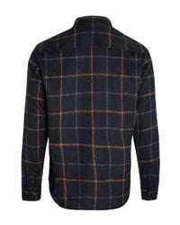 A.P.C. Blue Navy Check Wool Overshirt for men