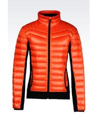 EA7 | Orange Down Coat for Men | Lyst