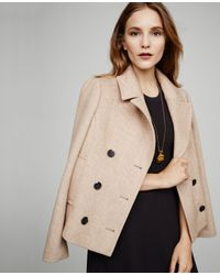 Ann Taylor | Natural Wool Twill Peacoat | Lyst