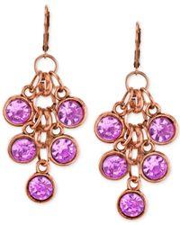 2028 - Metallic Copper-tone Amethyst Purple Cluster Drop Earrings - Lyst