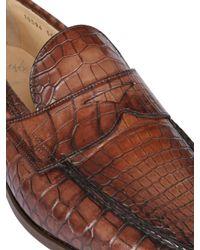 Santoni Brown Crocodile Penny Loafers for men