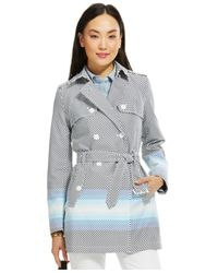Tommy Hilfiger - Multicolor Colorblock Polka-Dot Trench Coat - Lyst