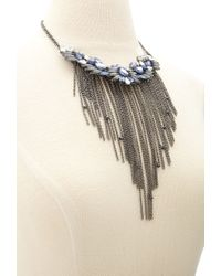 Forever 21 - Blue Layered Feather Necklace - Lyst