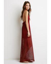 Forever 21 - Brown Crochet Halter Maxi Dress - Lyst