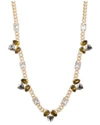 Anne Klein | Metallic Gold-tone Multi-stone Cluster Long Necklace | Lyst